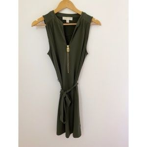 Michael Kors Green Mini Dress with sash gold zip